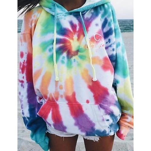 lightinthebox / Damen Pullover Hoodie Sweatshirt Batik Grundlegend Kapuzenpullover Sweatshirts Lose Regenbogen