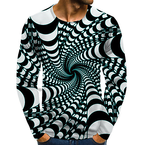 Men's T shirt Graphic Optical Illusion Plus Size Print Long Sleeve Daily Tops Basic Exaggerated Blue Purple Blushing Pink