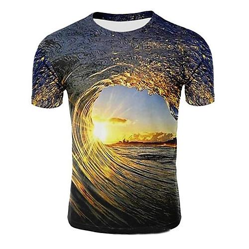 Men's Daily Plus Size T-shirt Galaxy 3D Graphic Print Short Sleeve Tops Round Neck Light Purple Light Brown Dark Green / Summer