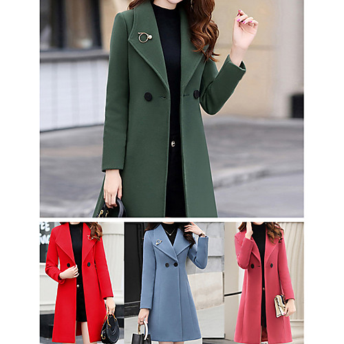 Women's Fall Buttoned Front Coat Long Solid Colored Daily Red Army Green Orange Royal Blue S M L XL / Winter
