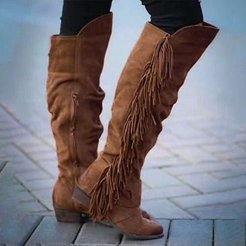 Women's Boots Block Heel Boots Riding Boots Wedge Heel Round Toe Over The Knee Boots Sweet Daily Walking Shoes Nubuck Tassel Solid Colored Dark Brown Khaki Brown / Knee High Boots