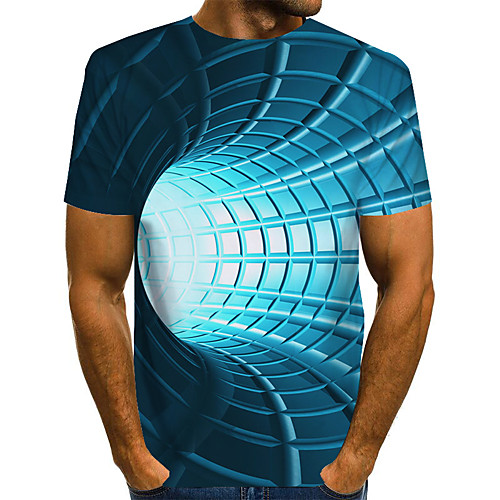 Men's Graphic Optical Illusion T shirt 3D Print Print Short Sleeve Daily Tops Basic Exaggerated Blue Purple Red