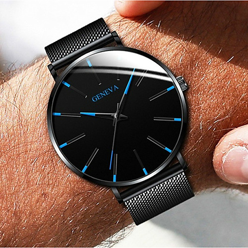 Geneva Couple's Dress Watch Quartz Formal Style Mesh Fashion Casual Watch Stainless Steel Black / Silver / Rose Gold Analog - Black / White Black / Blue Rose Gold One Year Battery Life