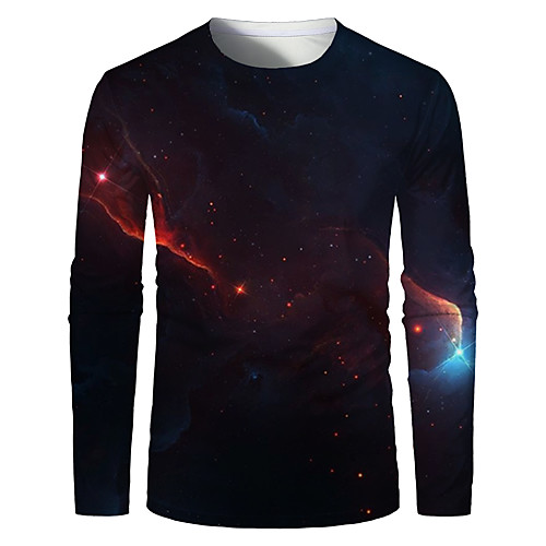 Men's Graphic Plus Size T-shirt Print Long Sleeve Daily Tops Basic Round Neck Wine / Sports