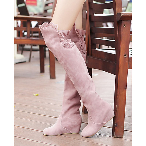 Women's Boots Wedge Heel Round Toe Over The Knee Boots Casual Basic Daily Walking Shoes Suede Solid Colored Black Pink Brown