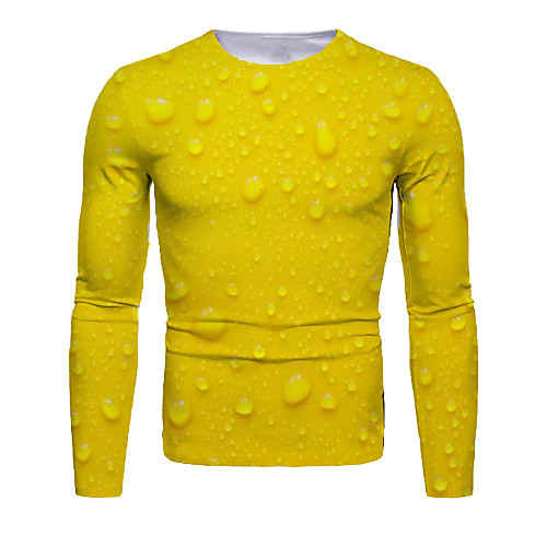 Men's T shirt 3D Print Beer Long Sleeve Daily Tops Basic Casual Yellow