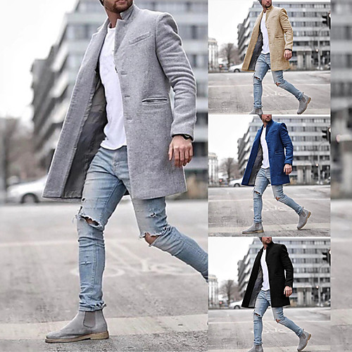 lightinthebox / Herren Winter Mantel Lang Solide Alltag Langarm Baumwolle Schwarz Khaki Marineblau Grau S M L XL / Arbeit