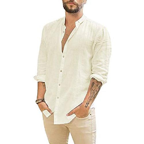 mens long sleeve shirts linen button up loose summer beach yoga shirt