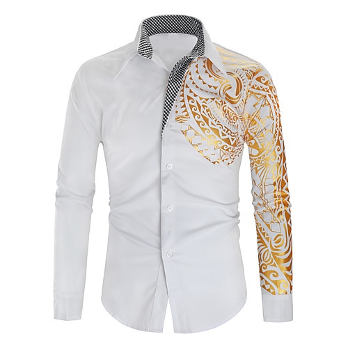 Men's Graphic Shirt Other Prints Print Long Sleeve Daily Tops Basic Button Down Collar White Black Red
