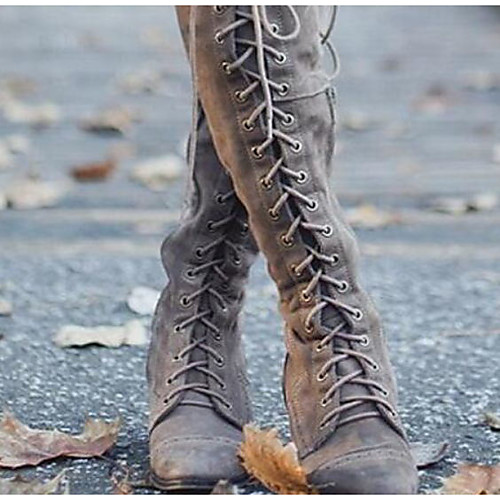 Women's Boots Riding Boots Block Heel Round Toe Over The Knee Boots Casual Basic Daily Walking Shoes PU Solid Colored Black Brown Gray