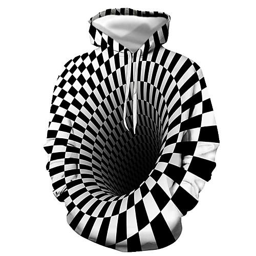 lightinthebox / Herrn Alltag Pullover Hoodie Sweatshirt 3D Grafik Mit Kapuze Freizeit Grundlegend Kapuzenpullover Sweatshirts Langarm Schwarz