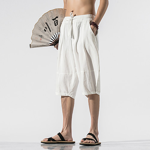 Men's Basic Chinoiserie Breathable Comfort Outdoor Daily Home Capri shorts Pants Solid Colored Calf-Length Drawstring Patchwork White Black Camel Green Navy Blue, lightinthebox  - buy with discount