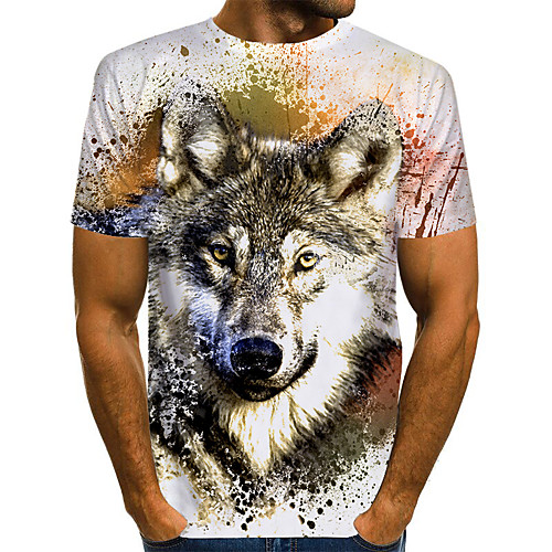 Men's Unisex T shirt 3D Print Graphic Wolf Animal Plus Size Print Short Sleeve Daily Tops Basic Chic & Modern Designer Exaggerated Round Neck White Blue Yellow