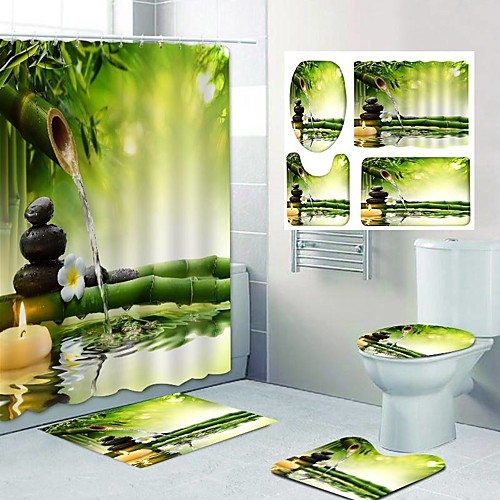 Bamboo Flowing Water Pattern Printing Bathroom Shower Curtain Leisure Toilet Four-Piece Design