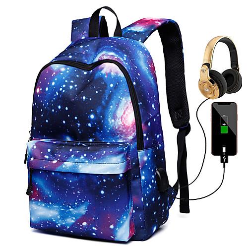 Unisex Canvas School Bag Rucksack Functional Backpack Large Capacity Waterproof Zipper 3D Print Galaxy Star Print Daily Backpack Black Blue Purple Red