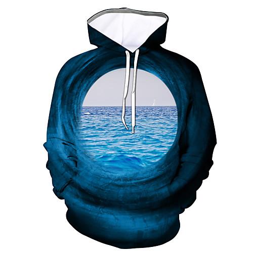 lightinthebox / Herren Pullover Hoodie Sweatshirt Grafik Mit Kapuze Alltag Freizeit Kapuzenpullover Sweatshirts Langarm Blau
