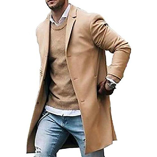 lightinthebox / Männer Trenchcoat Wolle Slim Fit Kerbkragen Mantel Einreiher lange Pea Coat Jacke (m, Khaki)