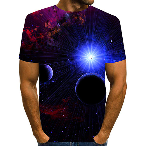 Men's T shirt 3D Print Graphic 3D Plus Size Print Short Sleeve Daily Tops Elegant Exaggerated Blue Red Green