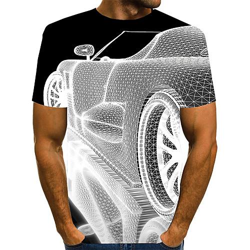 Men's T shirt 3D Print Graphic 3D Plus Size Print Short Sleeve Daily Tops Elegant Exaggerated White Black Blue
