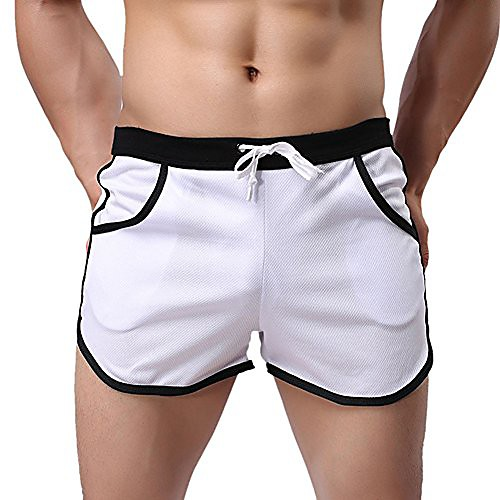 men's fitted pockets running bodybuilding workout gym active short shorts (us m = asian tag xl, white)