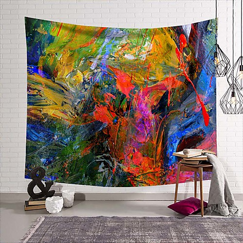 Wall Tapestry Art Deco Blanket Curtain Picnic Table Cloth Hanging Home Bedroom Living Room Dormitory Decoration Polyester Fiber Modern Oil Painting Color Paint