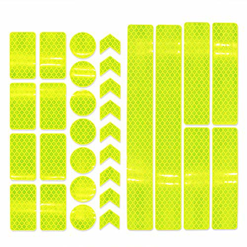 reflector stickers- 30 pcs retro reflective stickers tape kit, night visibility safety, universal adhesive for bike, car, stroller, buggy, helmet, motorcycle, scooter, toys (yellow)