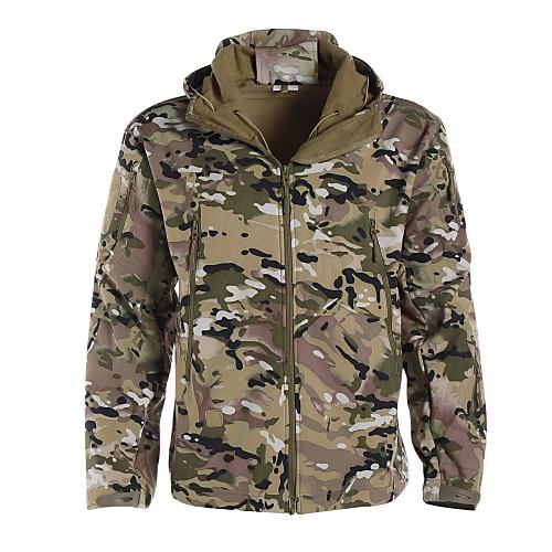 Men's Hiking Softshell Jacket Hoodie Camouflage Hunting Jacket Outdoor Thermal Warm Adjustable Waterproof Windproof Autumn / Fall Winter Spring Camo Zip Top Winter Jacket Coat Softshell Polyester