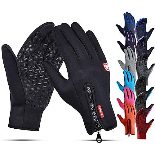 Winter Gloves Running Gloves Full Finger Gloves Anti-Slip Touchscreen Thermal Warm Cold Weather Men's Women's Lining Zipper Skiing Hiking Running Driving Cycling Texting Fleece Neoprene Winter / SBR