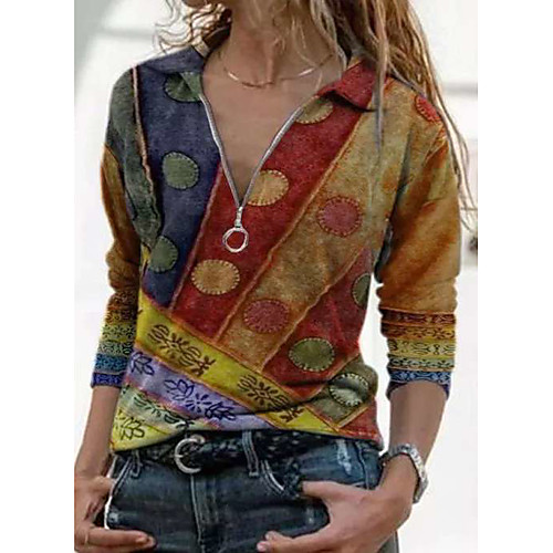 Women's Zip Up Hoodie Sweatshirt Lines / Waves Graphic Tie Dye Quarter Zip V Neck Daily Going out Work Casual Hoodies Sweatshirts Loose Blue Purple Red
