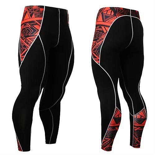 men's spandex active yoga running pants workout leggings full length asian size m-4xl black
