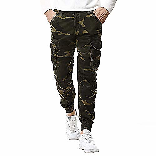 men's sweatpants active jogger pants slim fit trousers camo quick dry running cargo pants with zipper pockets klgda