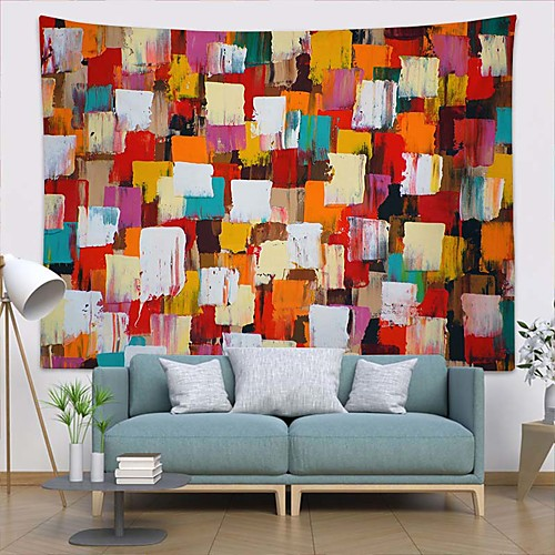 Wall Tapestry Art Deco Blanket Curtain Picnic Table Cloth Hanging Home Bedroom Living Room Dormitory Decoration Polyester Fiber Modern Oil Painting Color Square Paint