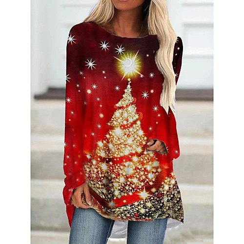 Women's Christmas Tunic Graphic Prints Long Sleeve Print Round Neck Tops Christmas Basic Top Red