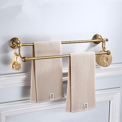 2 Layers Bathroom Towel Bar with 2 Hooks, Multifunction Antique Hardware Accessory Bar, Aluminum, 61.7cm, Wall Mounted