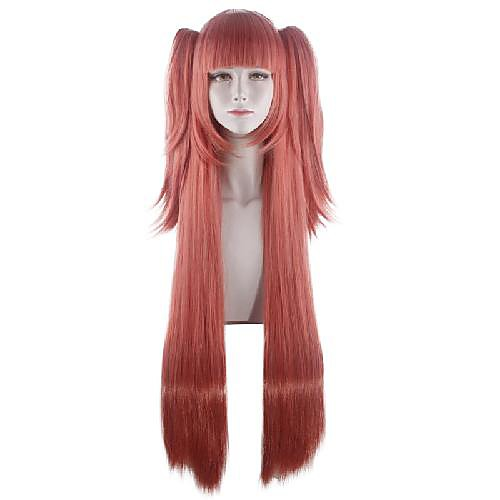 Cosplay Costume Wig Kakegurui / Compulsive Gambler Straight With 2 Ponytails With Bangs Wig Very Long Pink Synthetic Hair 40 inch Women's Anime Cosplay Creative Pink