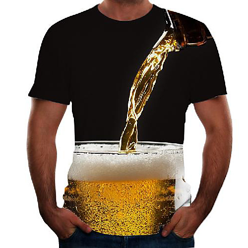 Men's T shirt Graphic 3D Beer Plus Size Short Sleeve Going out Tops Basic Black