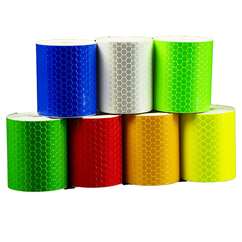 3pcs high visibility safety warning outdoor safety reflector stickers self adhessive waterproofand highly reflective tape roll for bicycle car 5300cm fluorescent