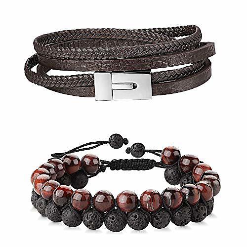 2 pcs genuine leather bracelet for men women two rows of 8mm black natural tiger eye lava rock hematite stone bracelets beaded cuff wrap bangle bracelet adjustable