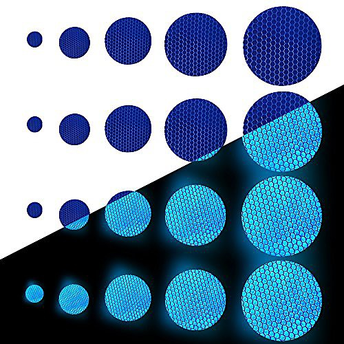 round shape reflective tape waterproof self-adhesive for bicycles baby's car mini-scooter's high visibilty tape outdoor safety reflective sticker 25 pcs blue