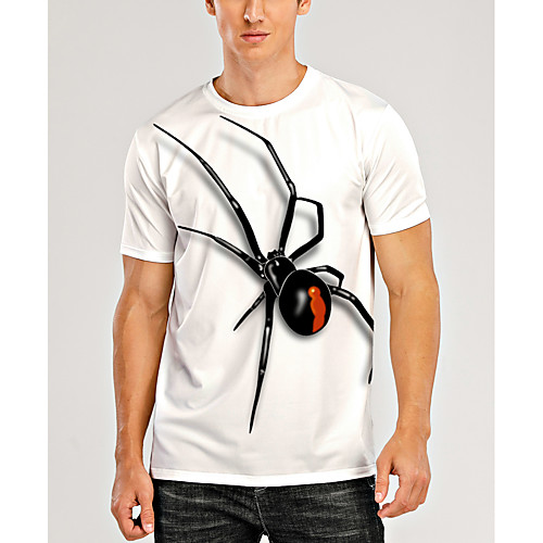 Men's Tee T shirt 3D Print Graphic Spiders Animal Plus Size Print Short Sleeve Daily Tops Basic Casual Designer Big and Tall Round Neck Cream Linen White / Spring / Summer