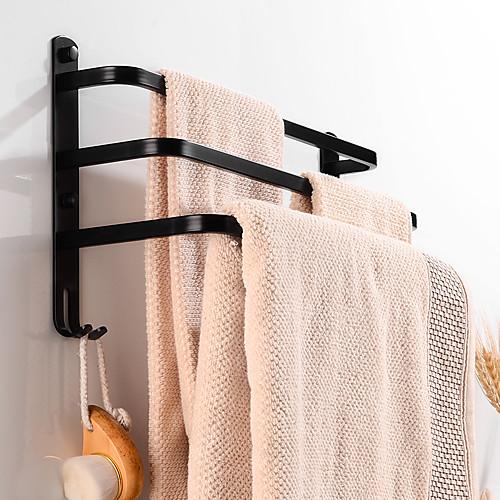 Towel Bar Retractable Cable / Creative / Multifunction Contemporary / Modern Aluminum 1pc - Bathroom / Hotel bath 3-towel bar Wall Mounted