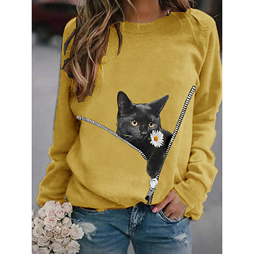 Women's Pullover Sweatshirt Cat Graphic 3D Daily Basic Casual Hoodies Sweatshirts White Black Yellow