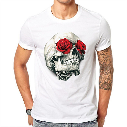 Men's T shirt 3D Print Graphic Floral Skull Print Short Sleeve Daily Tops Casual Punk & Gothic White Green