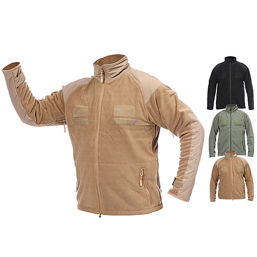 Men's Hiking Fleece Jacket Outdoor Thermal Warm Windproof Protective Wear Resistance Spring Fall Winter Solid Colored Coat Top Terylene Flannel Camping / Hiking Hunting Fishing Black Army Green Khaki