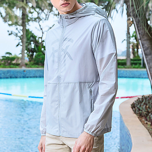 Men's Hiking Skin Jacket Hiking Windbreaker Outdoor Solid Color Packable Lightweight UV Sun Protection Windproof Outerwear Jacket Top Elastane Full Length Visible Zipper Fishing Climbing Running