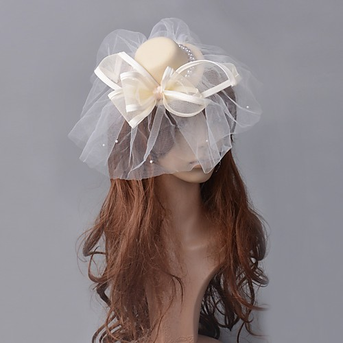 1920s Retro Tulle Fascinators with Bowknot / Pearls 1 Piece Special Occasion / Party / Evening Headpiece