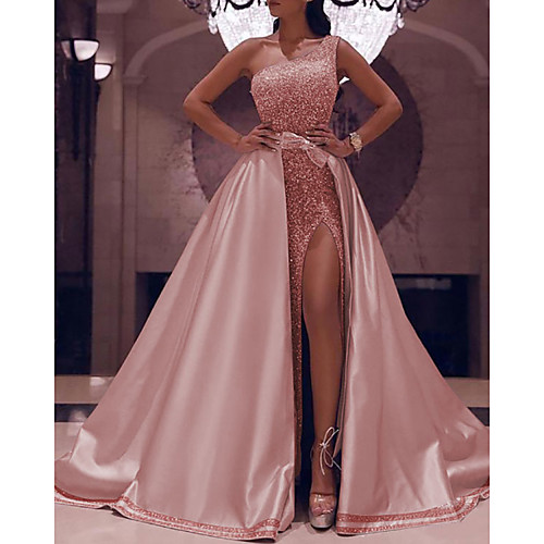 Ball Gown Sparkle Elegant Party Wear Prom Valentine's Day Dress One Shoulder Sleeveless Floor Length Satin with Bow(s) Sequin Split 2021