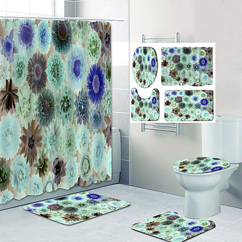 Misty Flowers Pattern Printing Bathroom Shower Curtain Leisure Toilet Four-Piece Design