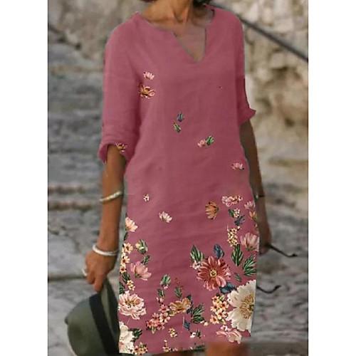 Women's Shirt Dress Knee Length Dress Blushing Pink Gray Black Half Sleeve Floral Print Summer V Neck Elegant 2021 S M L XL XXL 3XL / Loose
