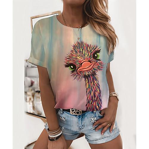 Women's T shirt Graphic Animal Print Round Neck Tops Basic Basic Top Blushing Pink, lightinthebox  - buy with discount